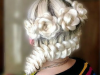 Цветы из косичек - фото