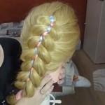 Французская коса из 5 прядей с лентами