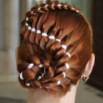 Четырехпрядная коса с лентой