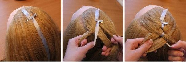 Схема плетения косы с лентой
