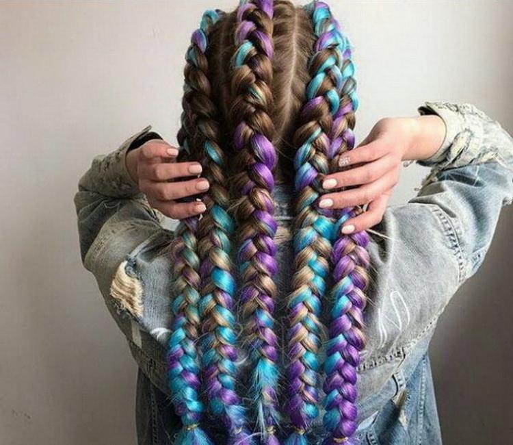 Цветные косы из канекалона: как плести