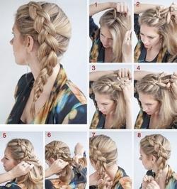 Французская косичка на средние волосы