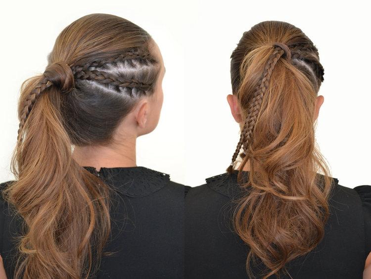 Конский хвост с косой