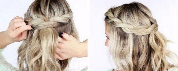 Коса на длинные волосы с мальвинкой