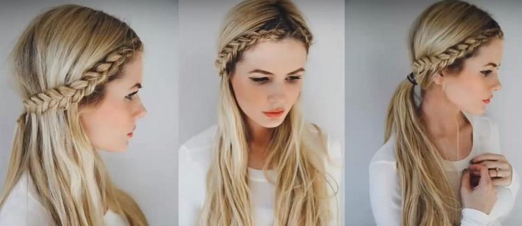 Коса ободок с челкой