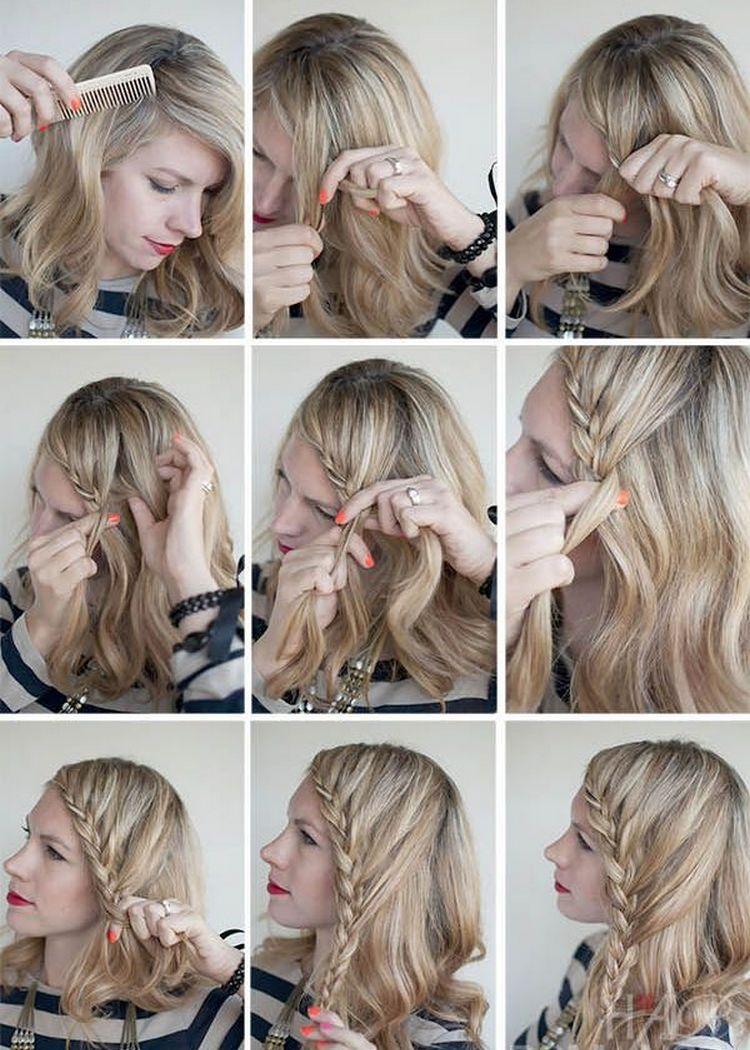 Схема плетения косы по краю волос