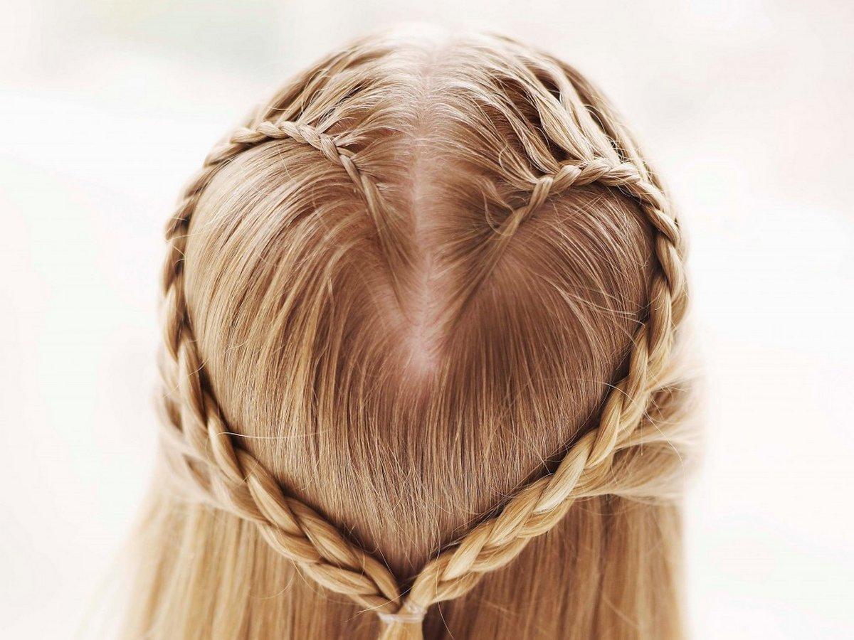 Коса сердечком с видео