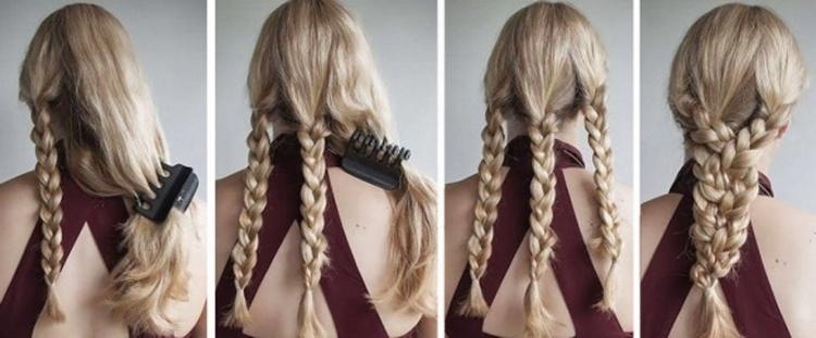 Косичка на длинные волосы три в одной