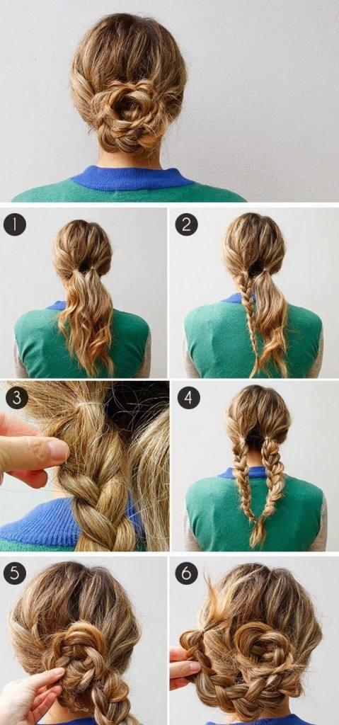 Косички на средние волосы