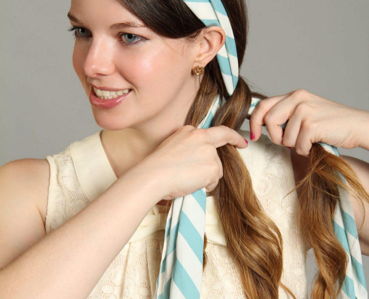 Косы с платком в волосах