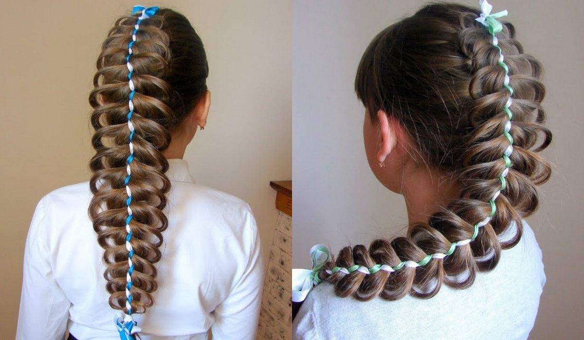 Праздничное плетение кос на длинные волосы