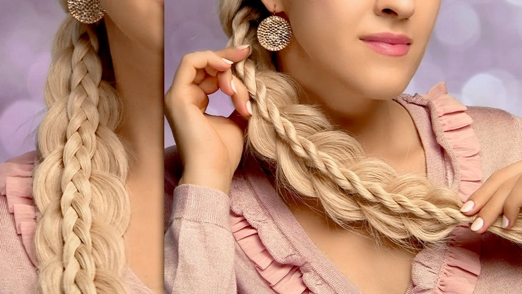 Праздничные косички на средние волосы