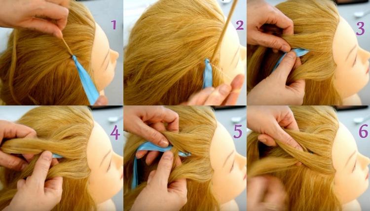 Прическа коса на средние волосы с ленточкой