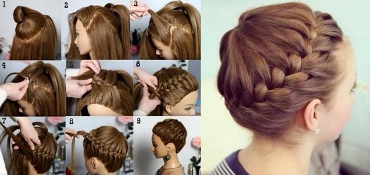 Прическа на средние волосы косичка-корзинка