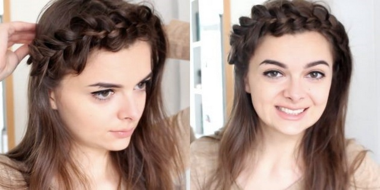 Прическа с косами и вплетенной челкой