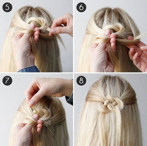 Прическа узел Жозефина - схема плетения