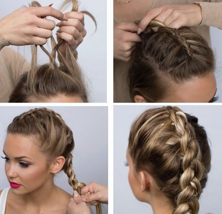 Русская косичка на средние волосы