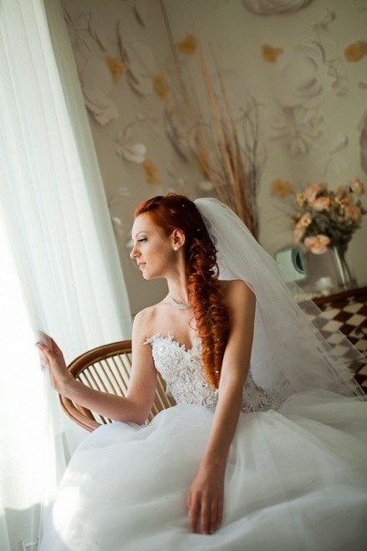 Свадебные косы с фатой